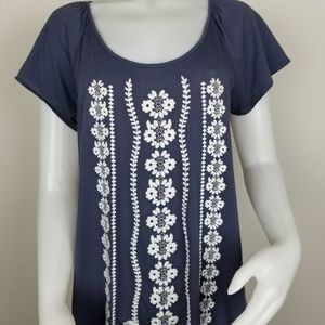 Garnet Hill Maya Embroidered Swing Top M